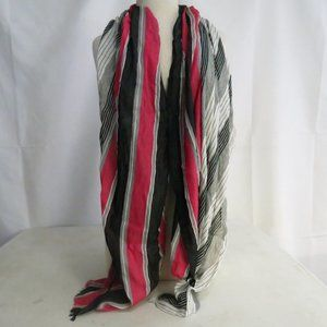 2 Chic Women's Scarf Rectangle Fringed Stripe